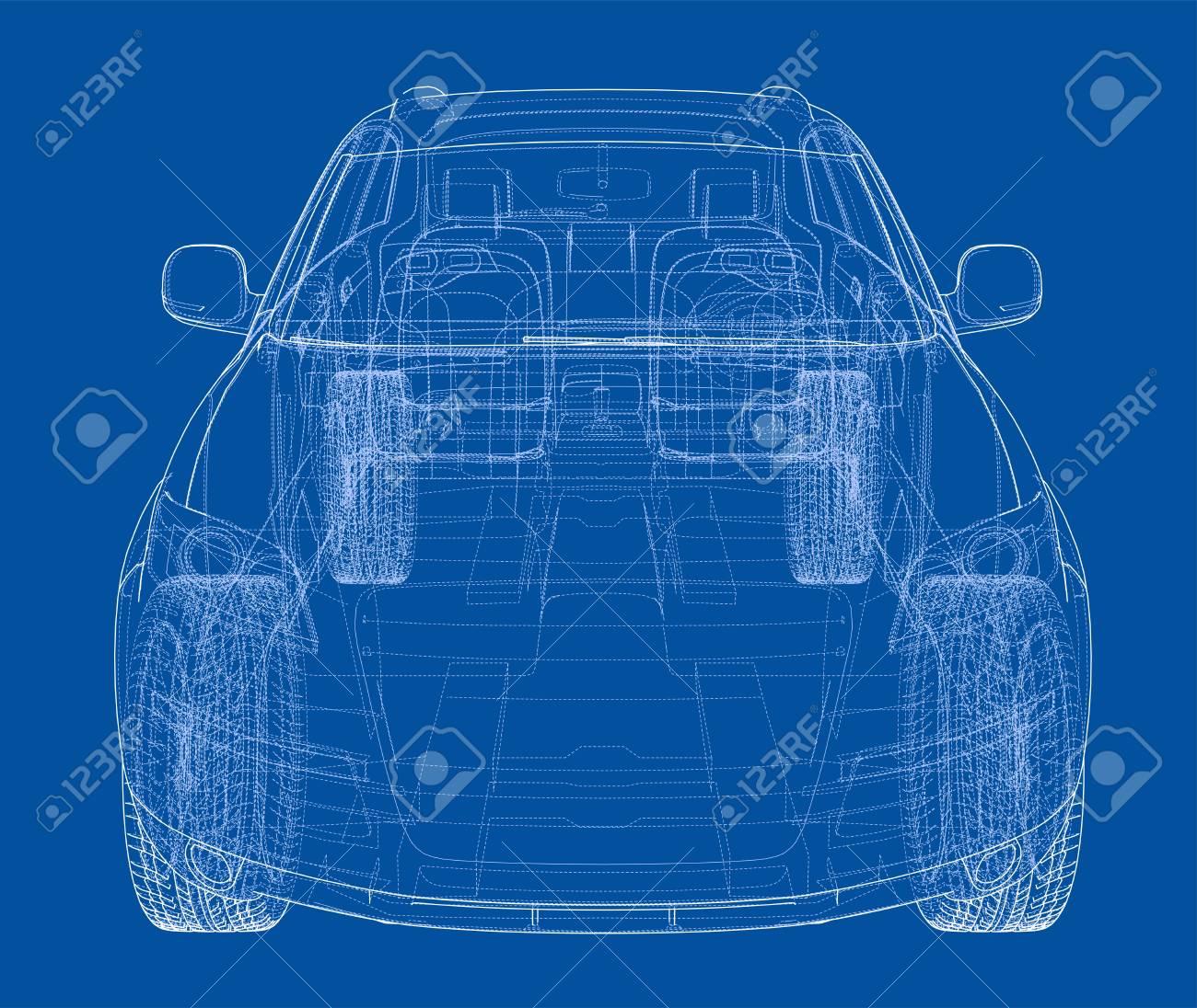 Concept car in 3d blueprint illustration vector front view royalty concept car in 3d blueprint illustration vector front view stock vector 95592823 malvernweather Images