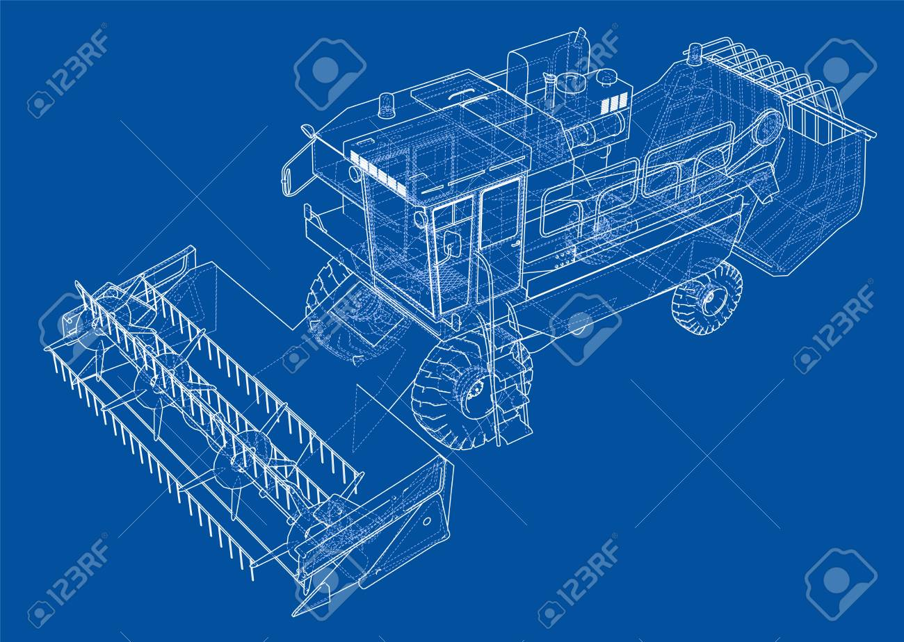 Concept combine-harvester. Vector rendering of 3d. Wire-frame.. on