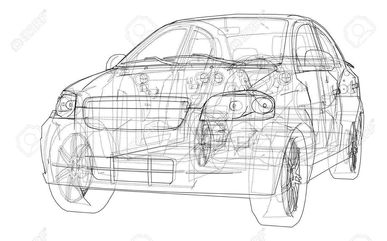 Concept car blueprint  Vector