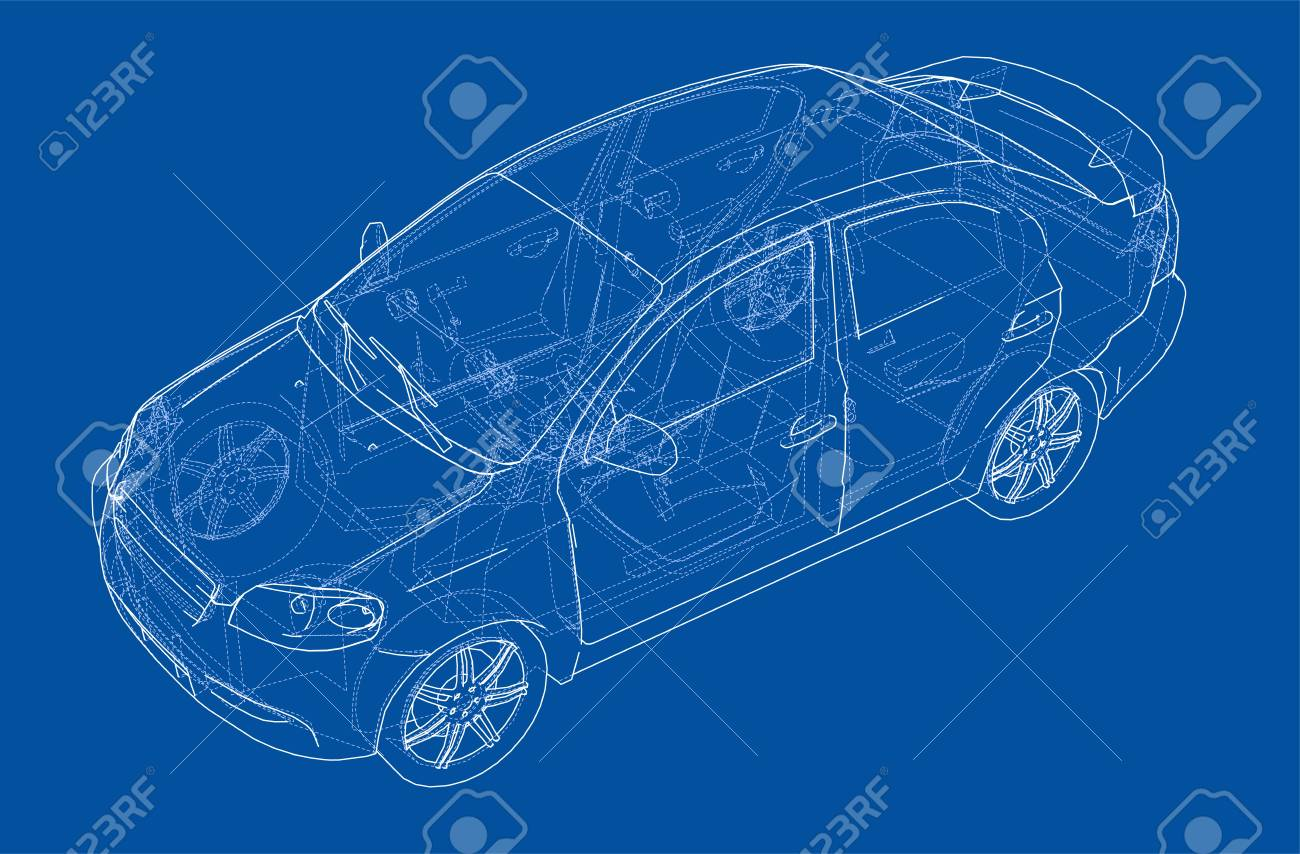 Blueprint drawing of a car model concept vector illustration blueprint drawing of a car model concept vector illustration isolated on blue stock vector malvernweather Image collections