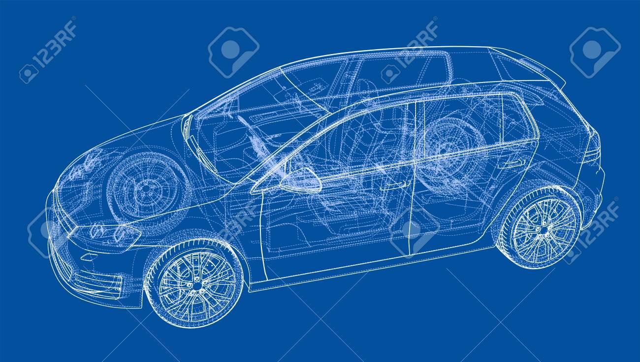 Car 3D Blueprint Illustration. Royalty Free Cliparts, Vectors, And ...