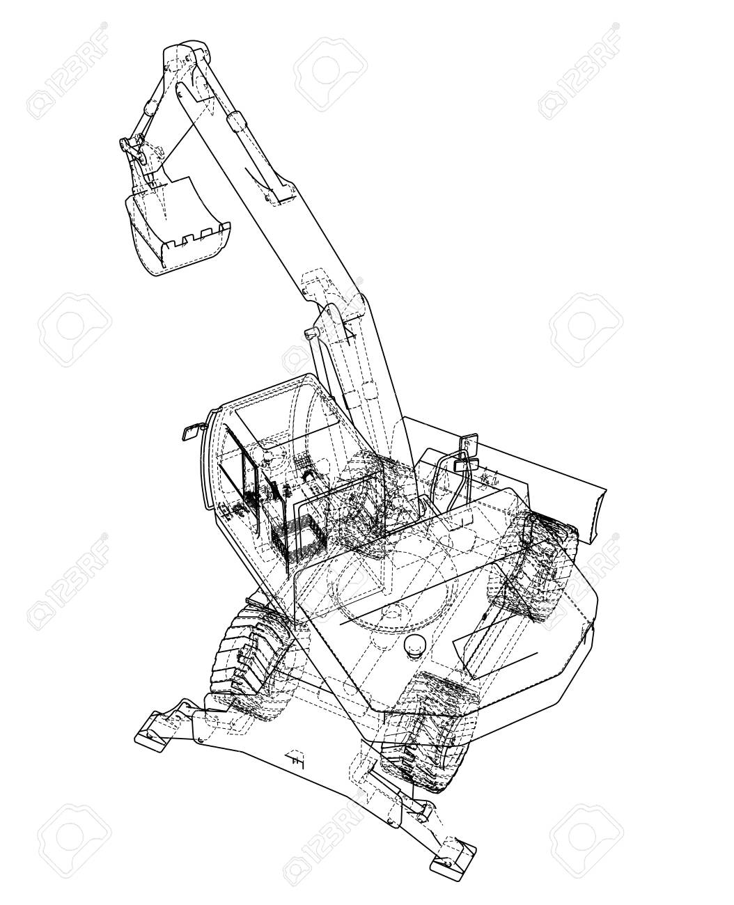 Outline Of Excavator Isolated On Background Stock Photo