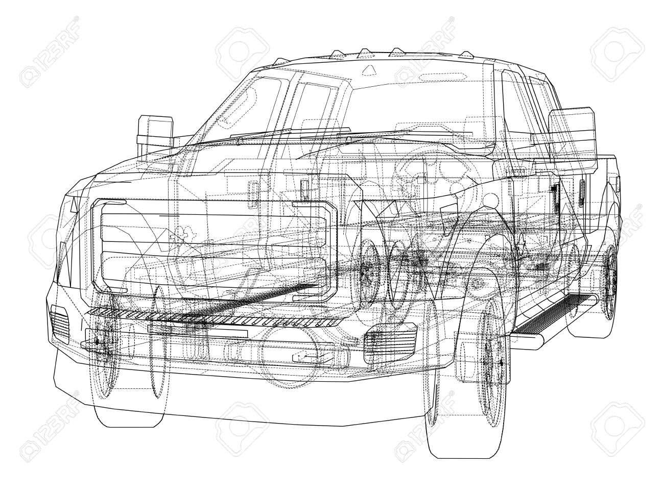 Car SUV Drawing Outline Stock Photo   98711134