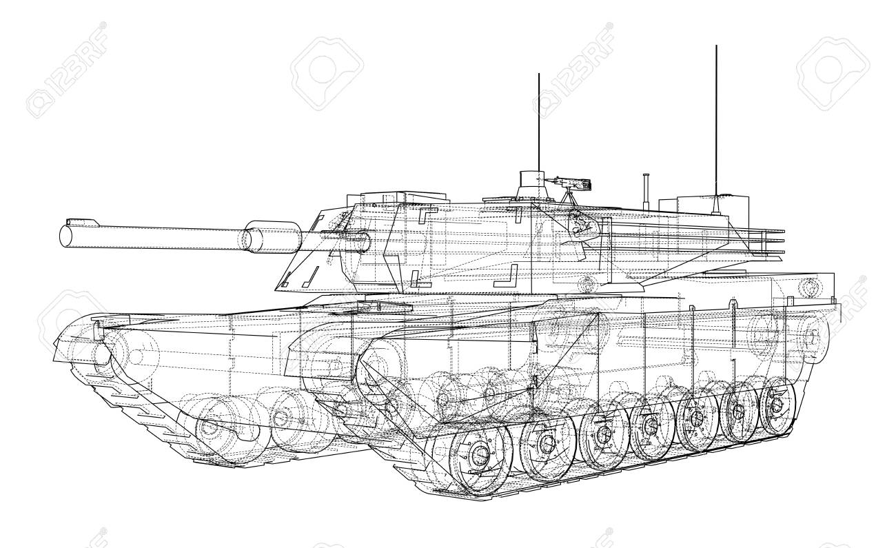 Blueprint Of Realistic Tank Stock Photo Picture And Royalty Free Wiring Diagram 98849610