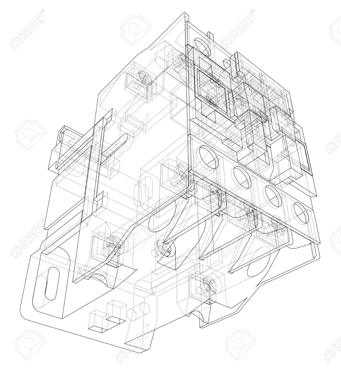 breaker schematic wiring diagram database Utility Breaker Box Wiring circuit breaker drawing box wiring diagram home breaker automatic circuit breaker concept vector rendering of 3d