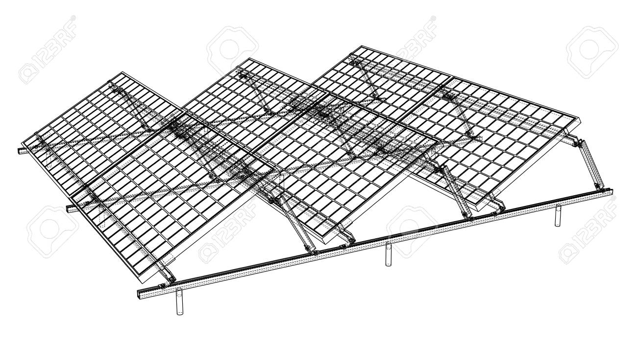 Solar Panel Concept. Vector Rendering Of 3d. Wire-frame Style ...