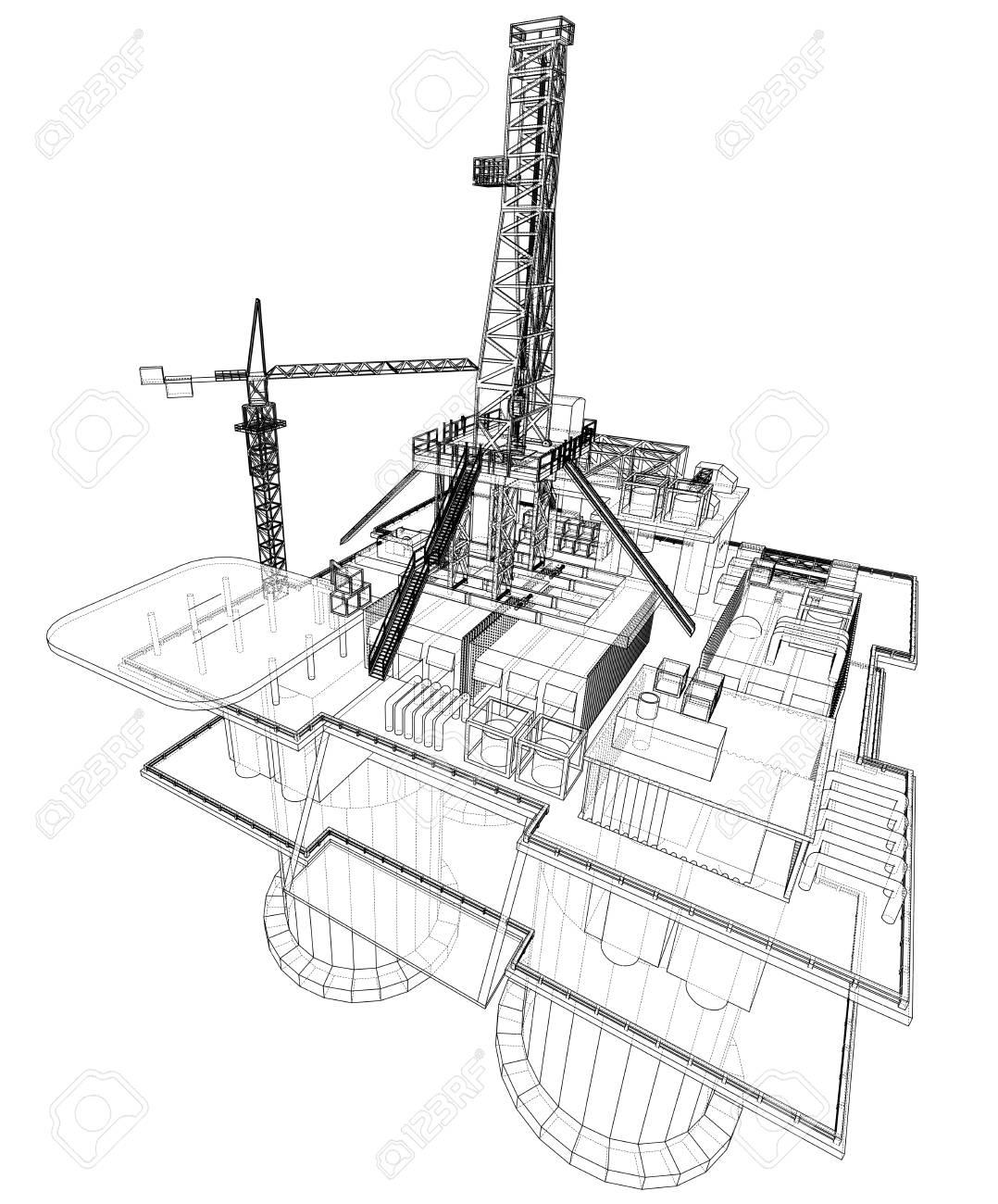 Offs oil rig drilling platform concept. Vector Ocean Drilling Rig Schematic Diagram on
