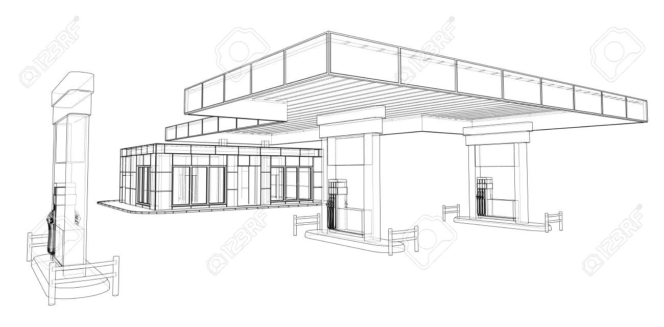 Gas Station. Vector rendering of 3d - 112200857