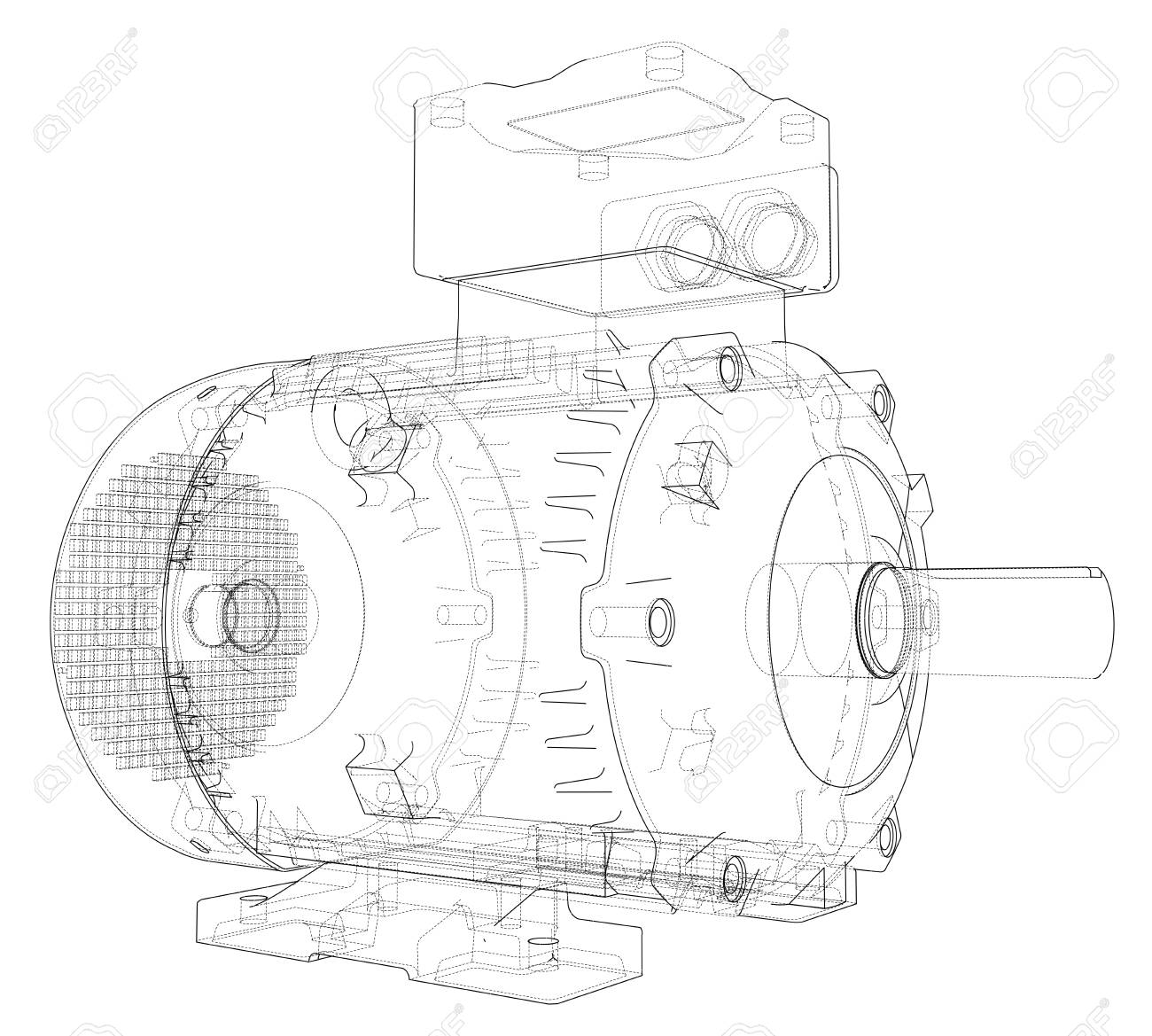 Electric motor outline. 3d illustration - 112921245