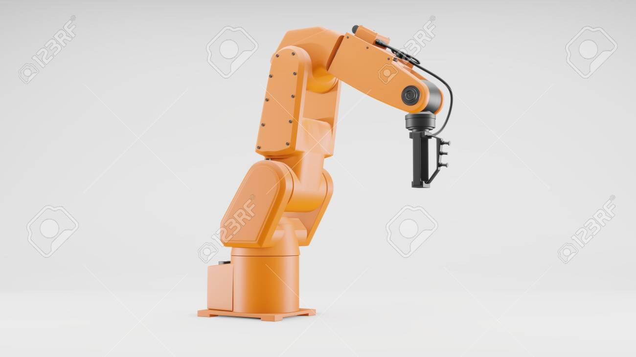 Robotic arm on gray background  Industrial robot manipulator