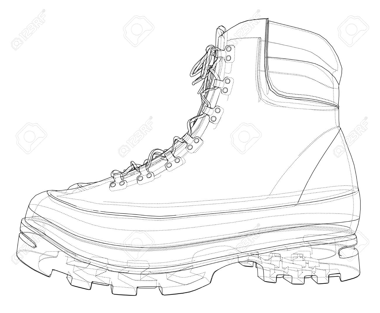 Mens boot concept. Vector rendering of 3d. Wire-frame style. The layers of visible and invisible lines are separated - 125047551
