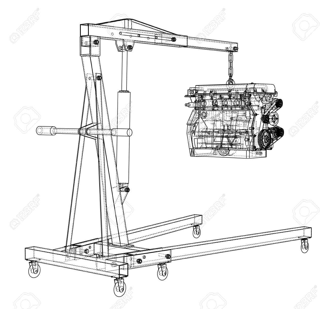 Engine Hoist With Engine Outline Stock Photo, Picture And Royalty Free  Image. Image 118620197.123RF.com