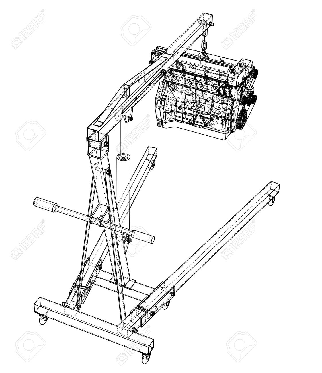 Engine Hoist With Engine Outline Stock Photo, Picture And Royalty Free  Image. Image 118774491.123RF.com
