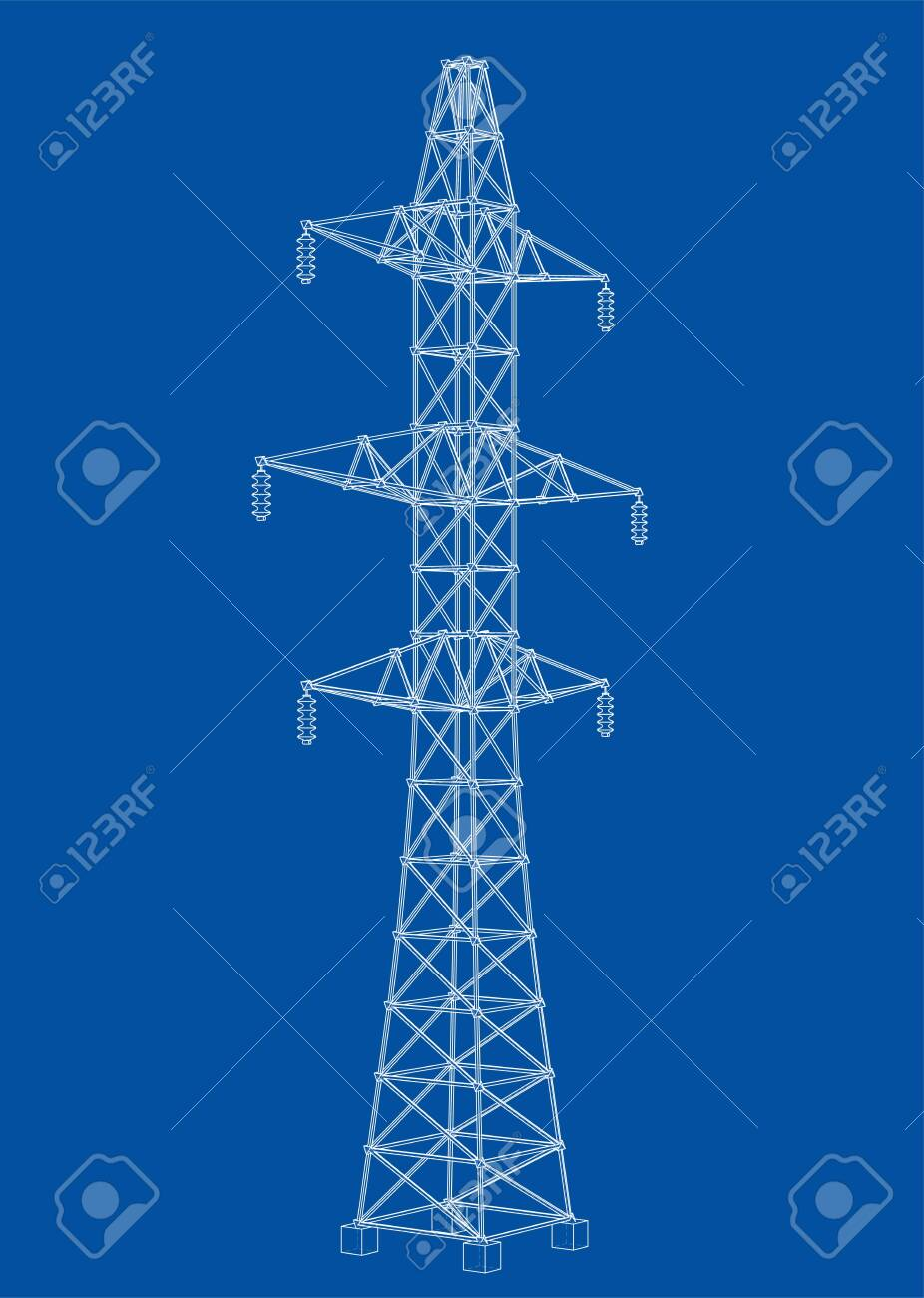 Electric pylon or electric tower concept. Vector rendering of 3d. Wire-frame style. The layers of visible and invisible lines are separated - 124305885