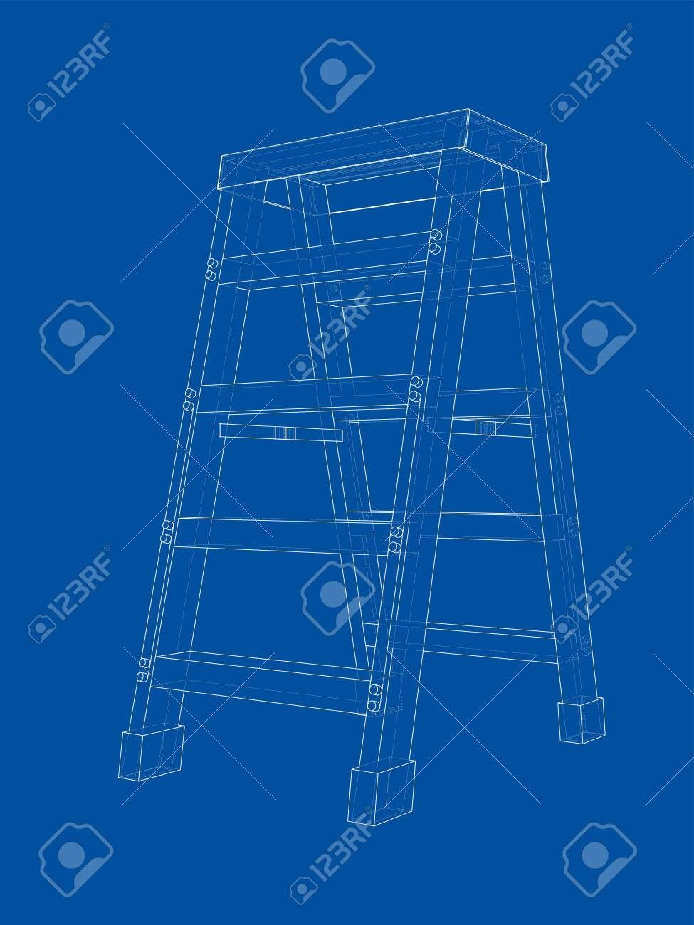 Pleasing Outline Household Steps Vector Rendering Of 3D Wire Frame Style Beatyapartments Chair Design Images Beatyapartmentscom