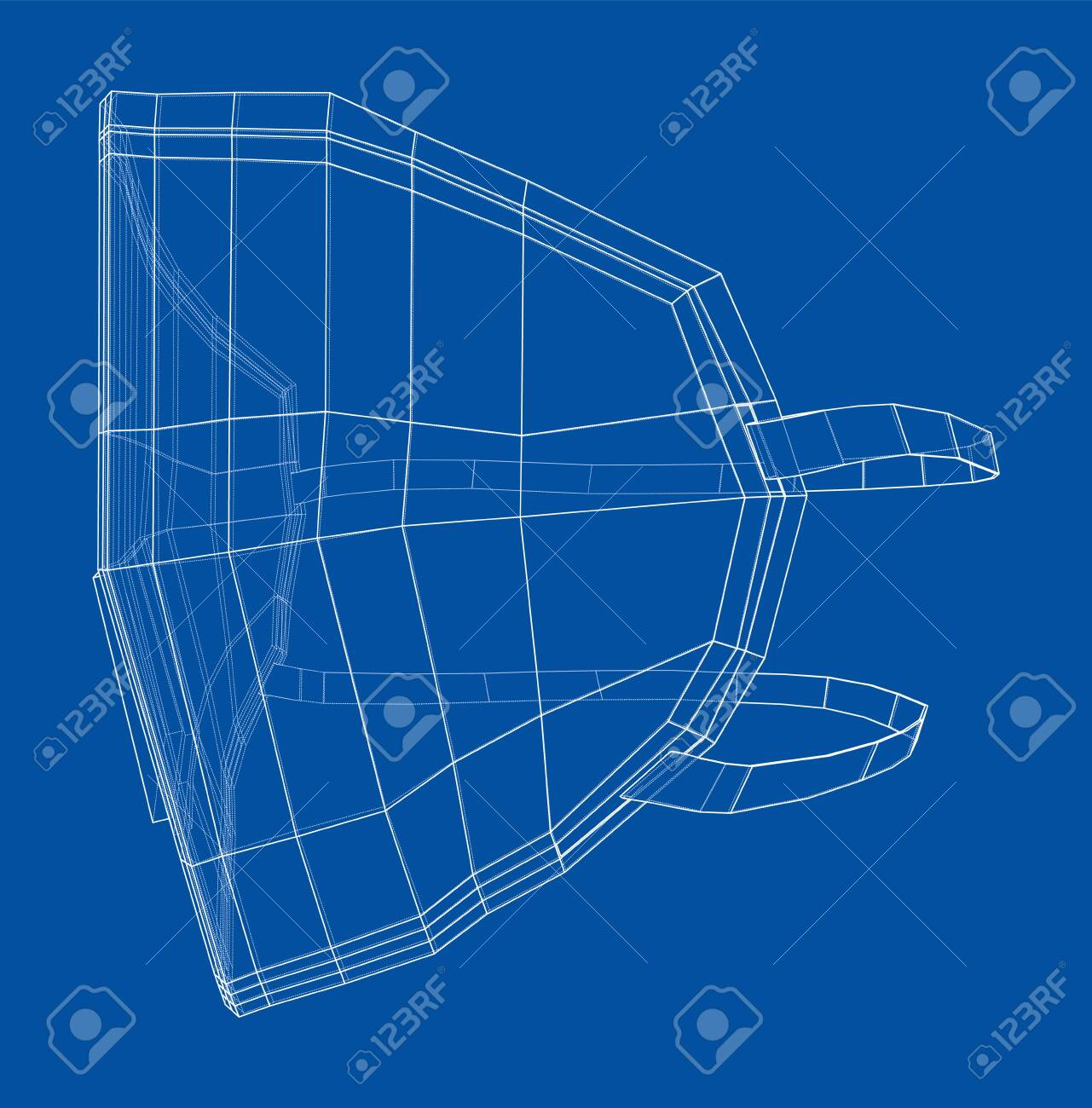 Medical surgical mask. Blueprint style. Vector - 143869753