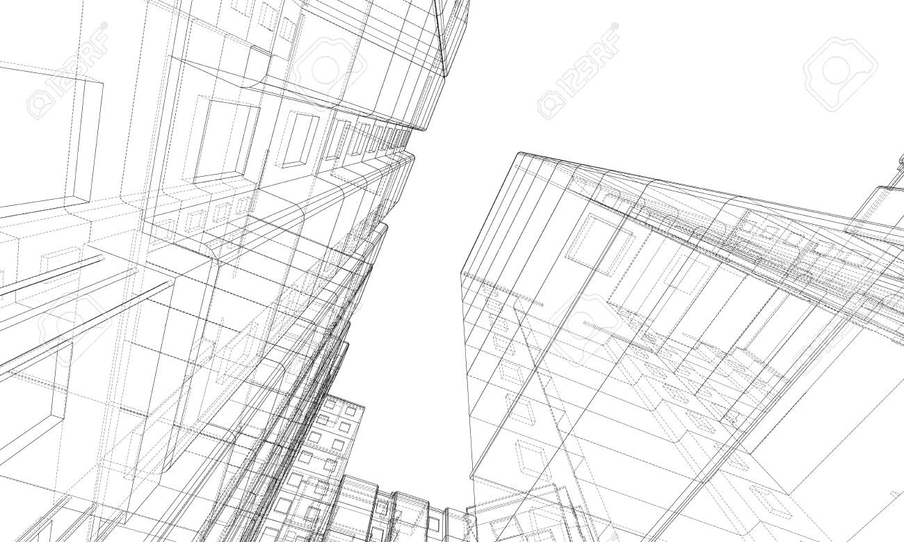 Vector wire-frame model of a multi-storey residential building. Construction concept. Drawing or blueprint style. Vector made from 3d model - 143974308