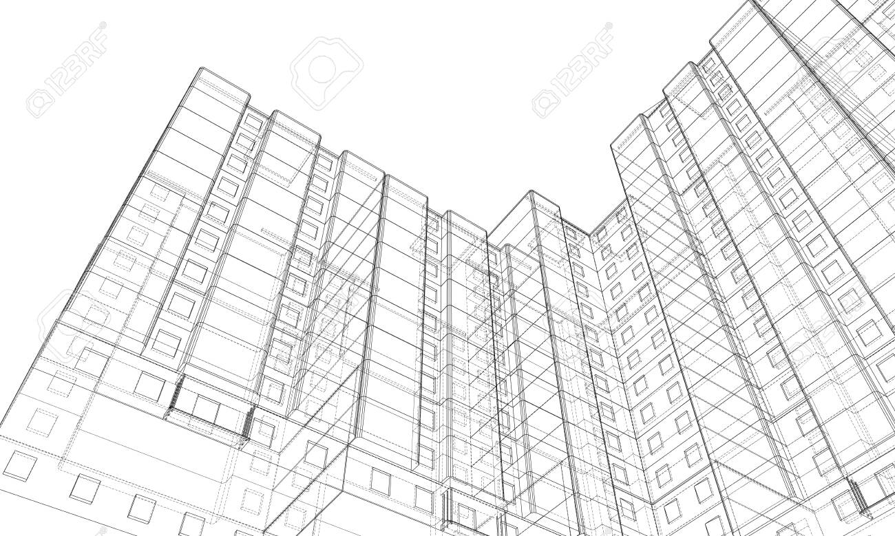 Vector wire-frame model of a multi-storey building - 144125919