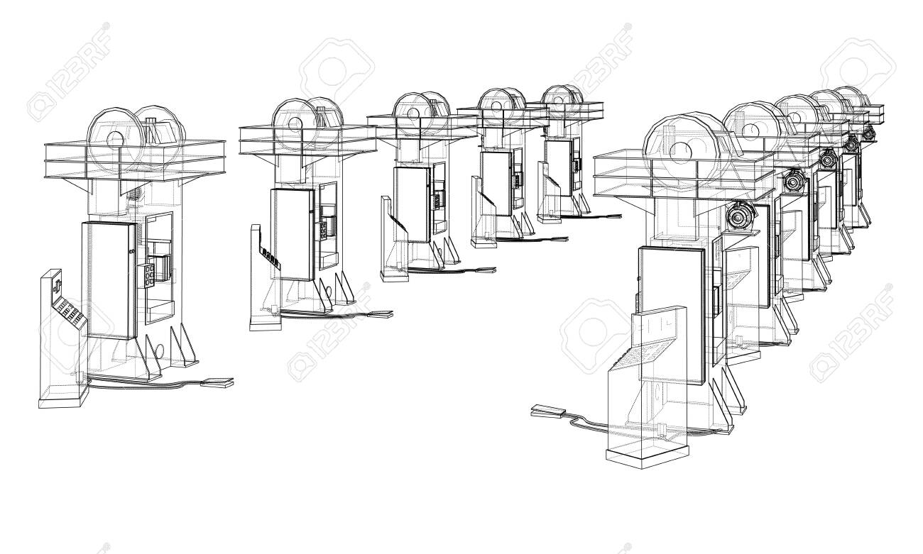 Friction screw press concept outline. Vector - 152261778
