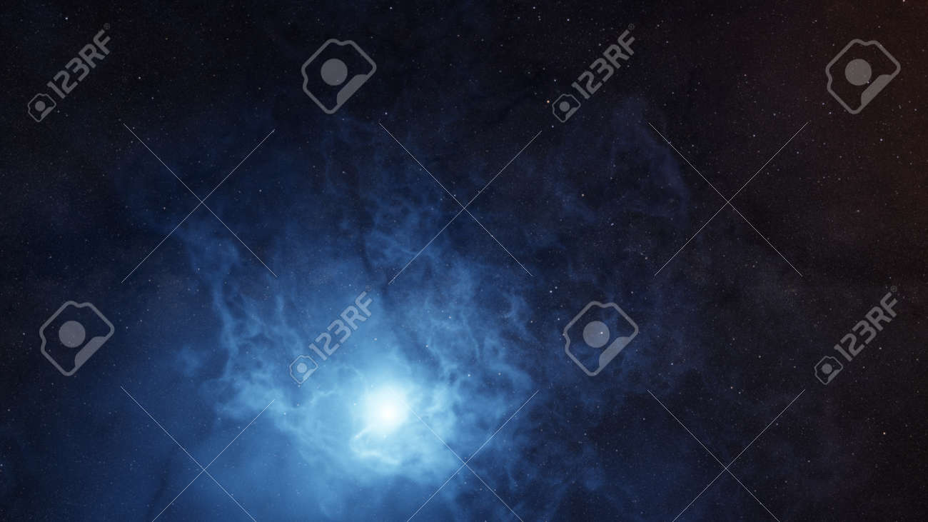 Color picture of the galaxy, blue nebula - 155420083