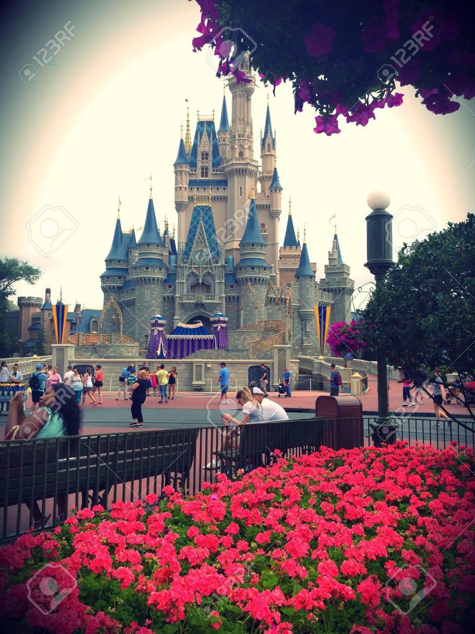 cinderella castle at the magic kingdom in walt disney world stock
