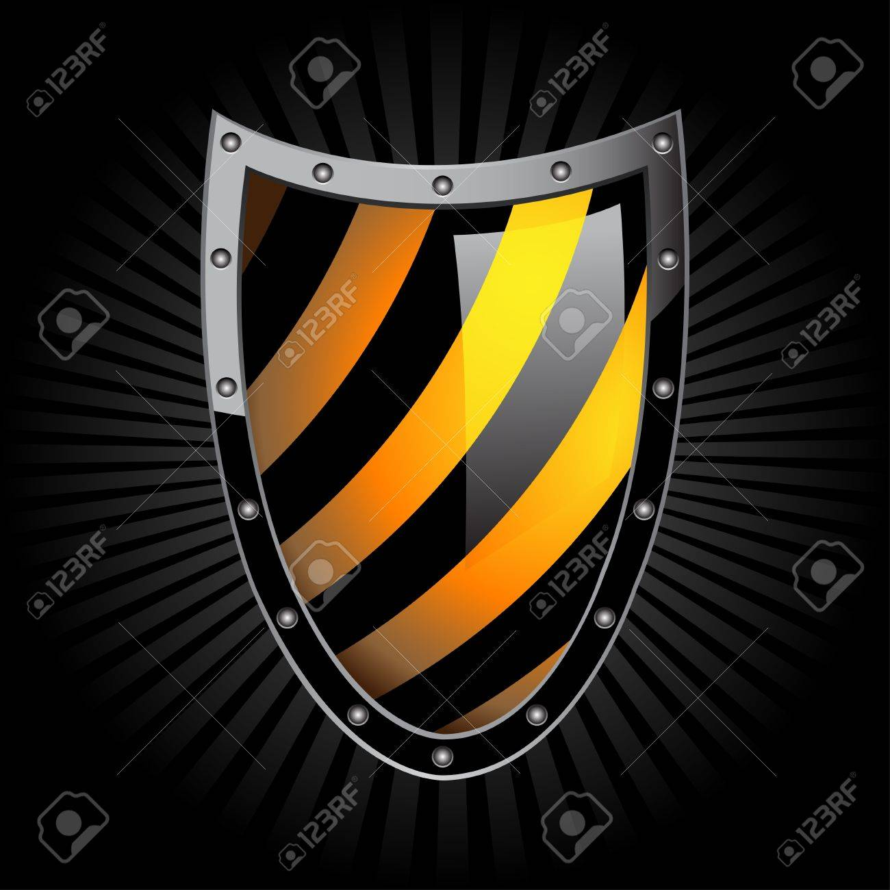 Illustration of the shield on a black background. Stock Vector - 10613180