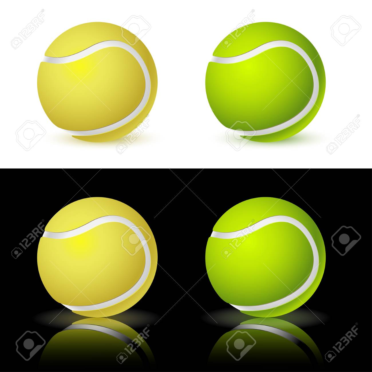Illustration of the four tennis balls on white and black background. Vector. Stock Vector - 12326701