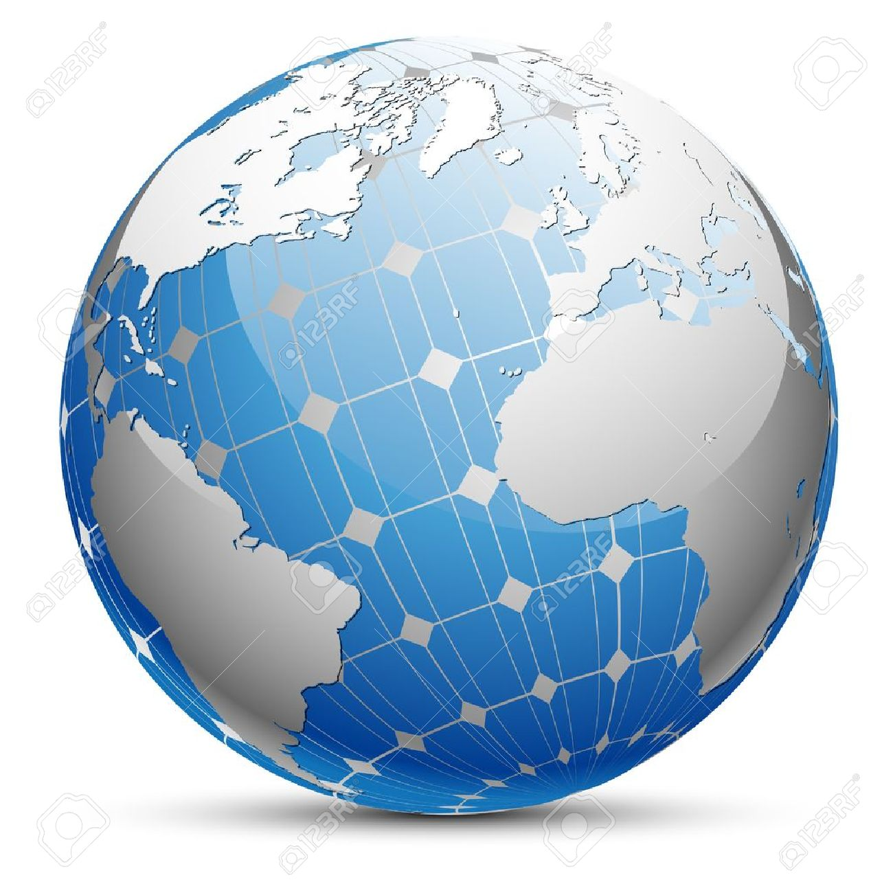 Abstract illustration of the planet Earth with a solar panel. Standard-Bild - 15476417