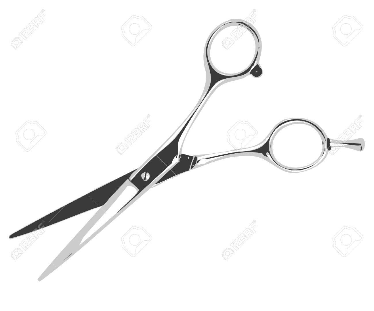 Illustration barber scissors isolated on white background. Standard-Bild - 15476366