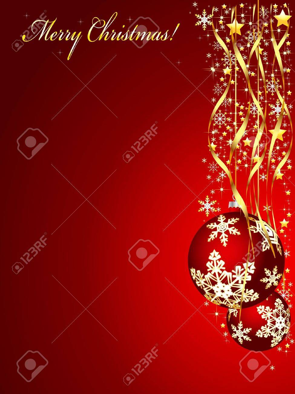 Christmas illustration on a red background  Vector Stock Vector - 16219139