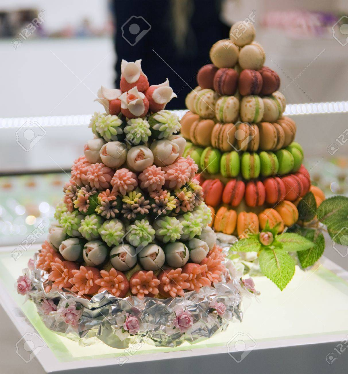 two fruit cake with nine tiers on the table Standard-Bild - 16218962