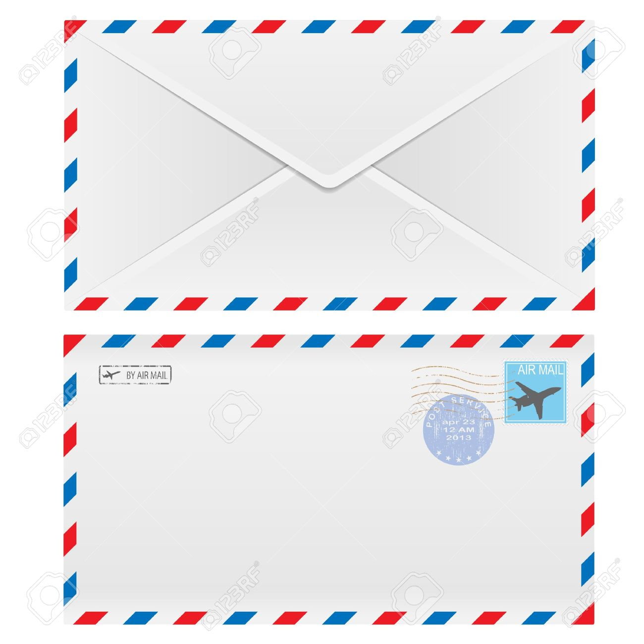 Air mail envelope with postal stamp isolated on white background. Standard-Bild - 19656814