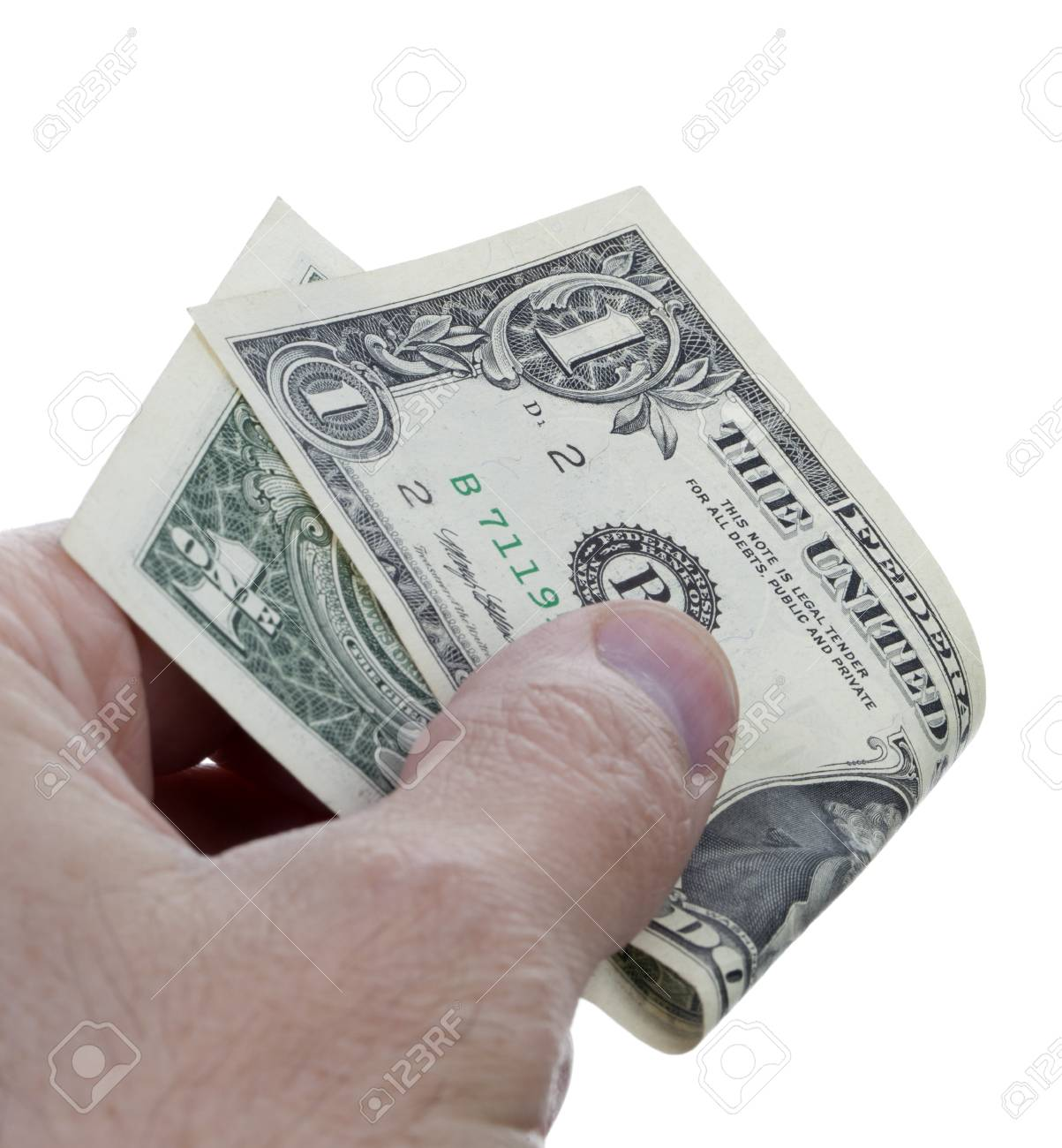 U.S. dollars in hand isolated on white background Stock Photo - 19970822