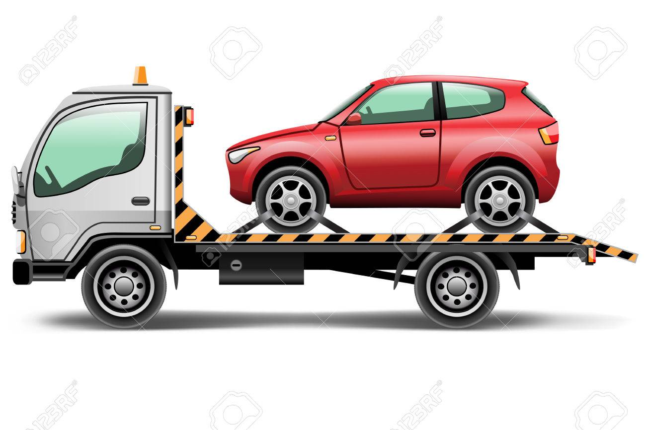 illustration tow truck loaded up the car Standard-Bild - 26577972