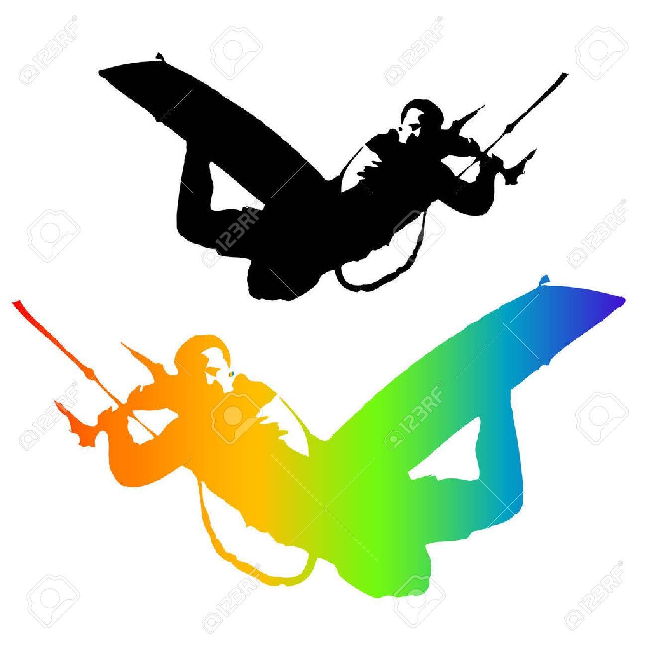 Kite Rider isolated on white background. Illustration. Vector . Standard-Bild - 31289483
