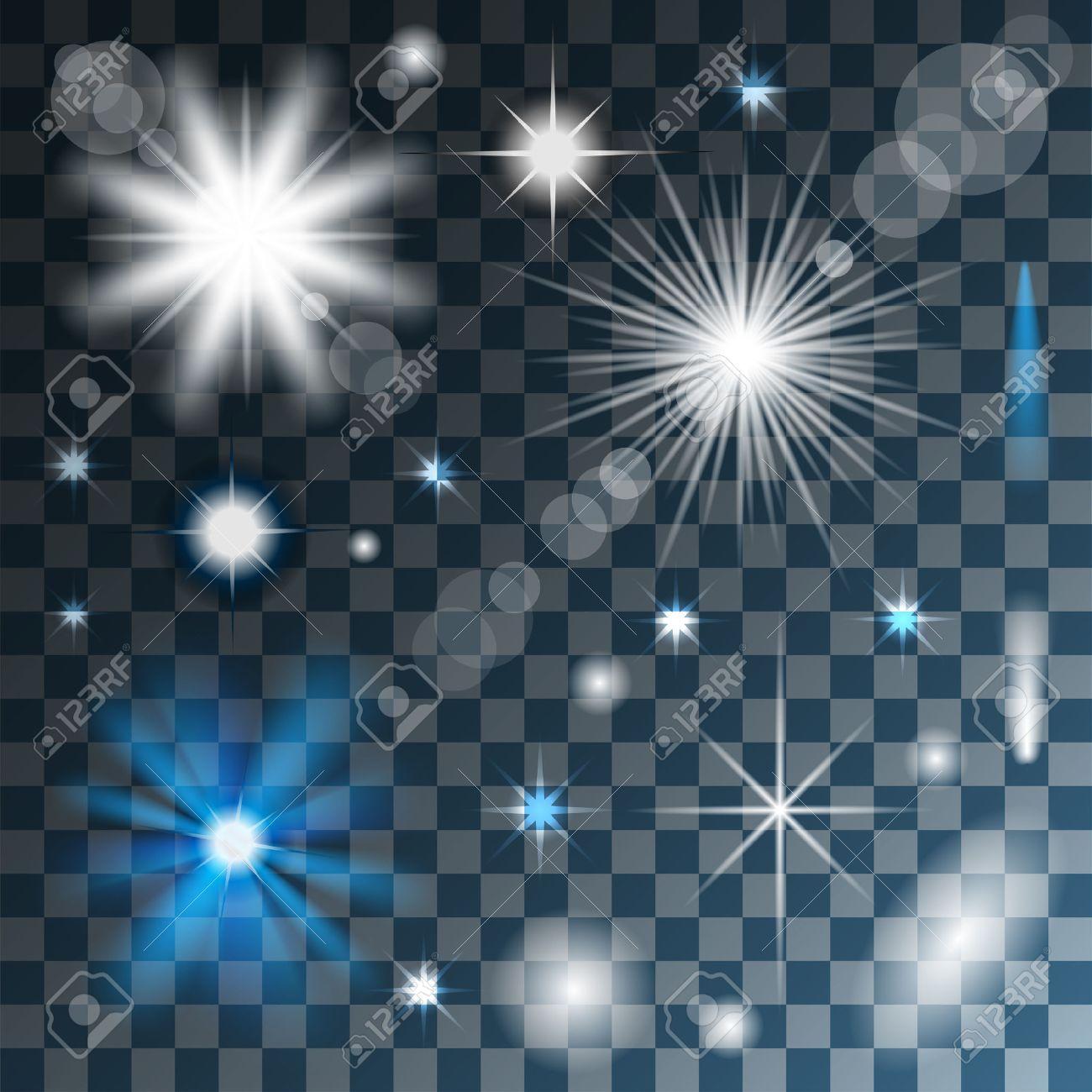 Glowing stars, lights and sparkles on Transparent background. Vector. Illustration. Standard-Bild - 39017899