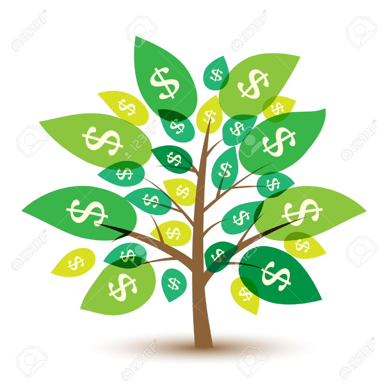 Icon money tree with leaves in dollars. Vector Illustration. Standard-Bild - 41973347