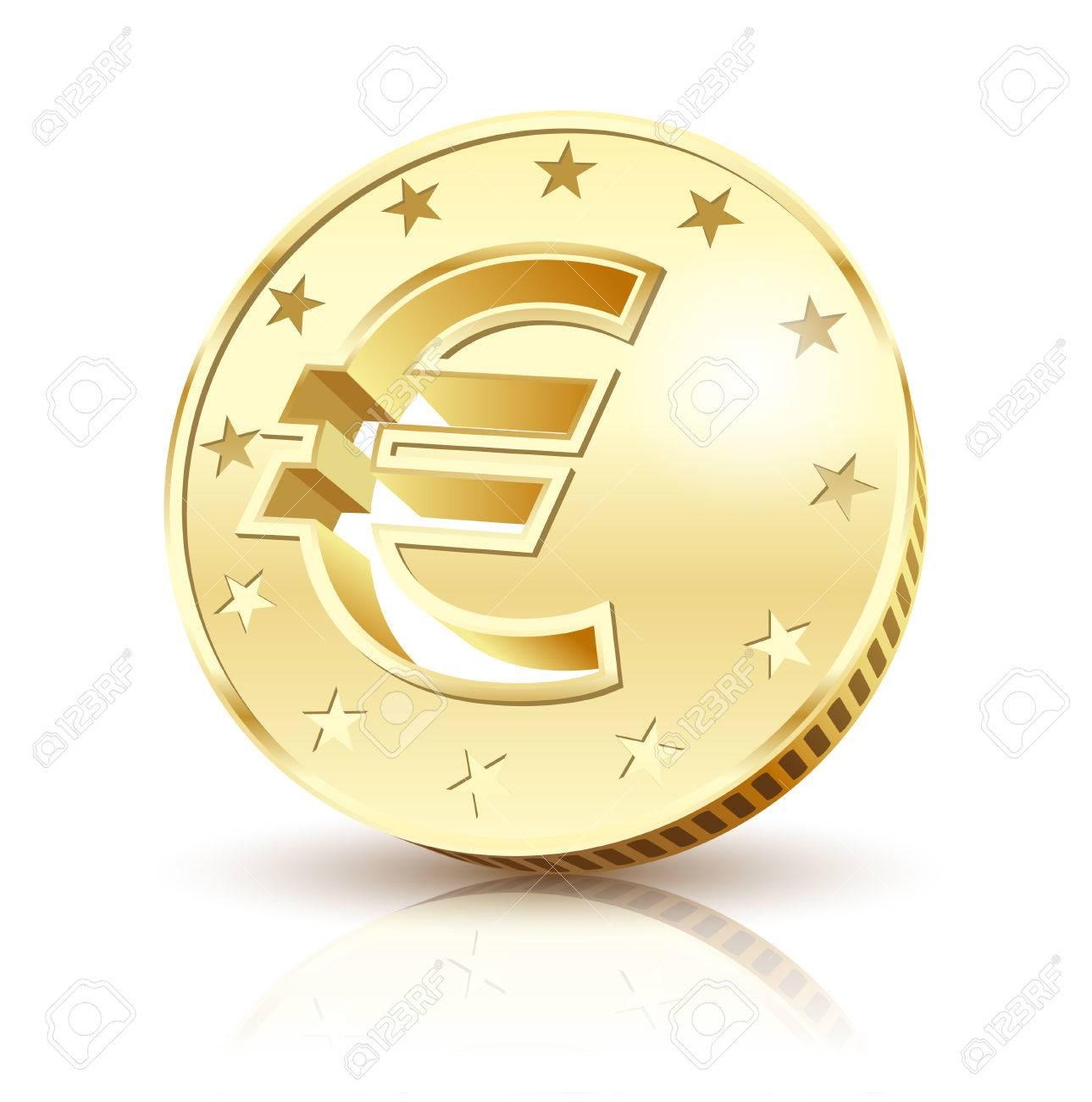 Coin Golden Euro isolated on a white background. Illustration Vector Standard-Bild - 45891046
