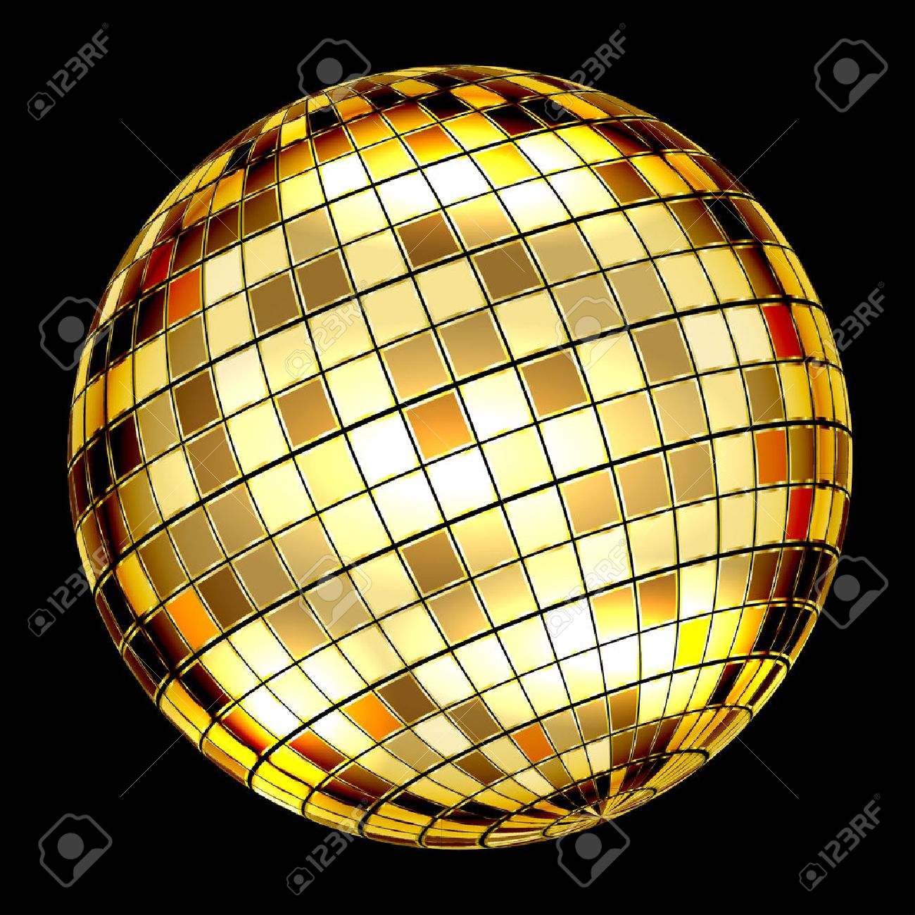 Golden Disco Ball on a black background. Vector Illustration Standard-Bild - 45891055