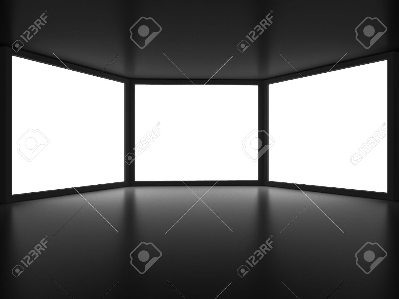 View from inside of dark room on three white window like embrasures Stock Photo - 5245360
