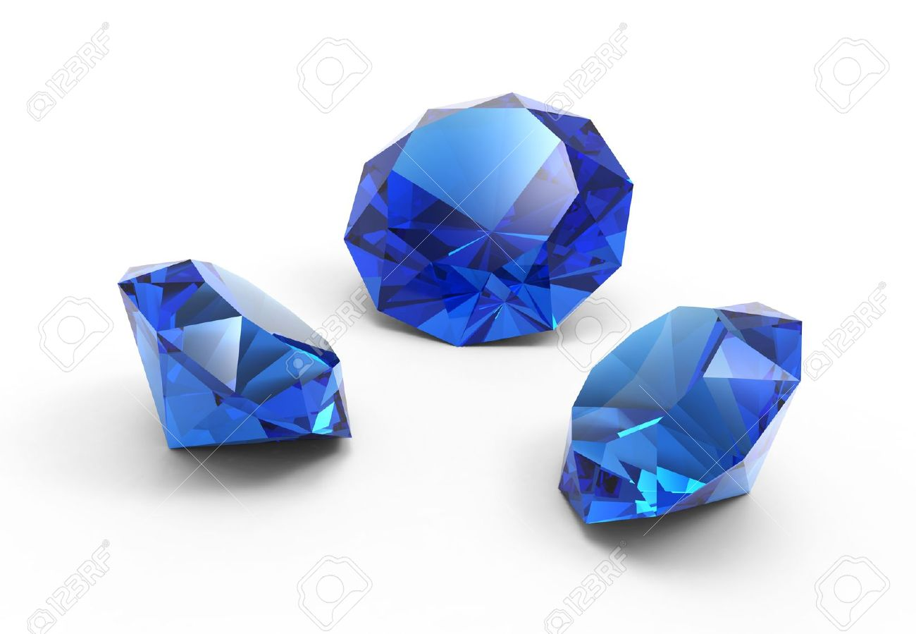 A Beautiful Saphire Gems Isolated On White Background Stock Photo ...