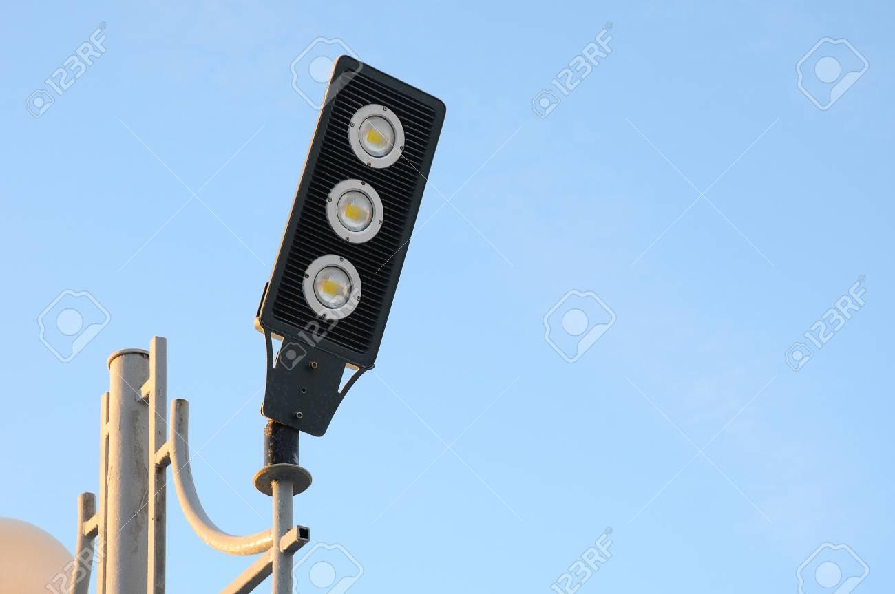 LED Spotlight. Lamp Post Closeup. Modern Lighting Technology Stock ...
