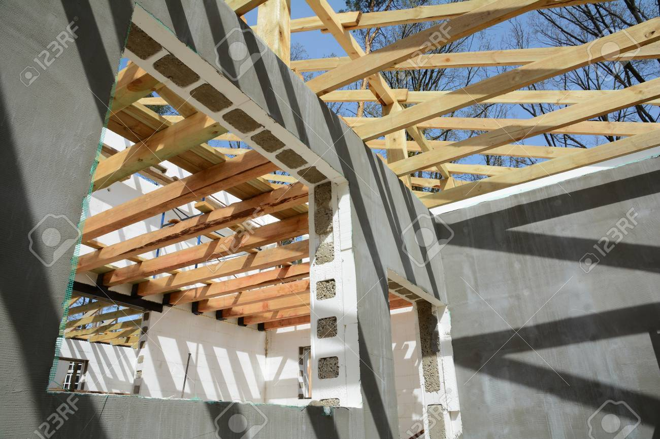 Wooden Frame Building. Wooden Roof Construction. Construction Of ...