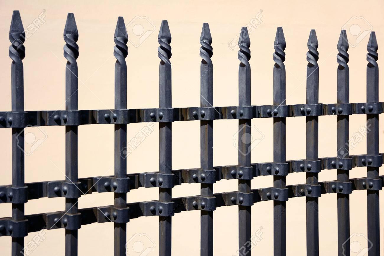 Schoner Bearbeiteter Zaun Bild Eines Dekorativen Gusseisernen Zauns