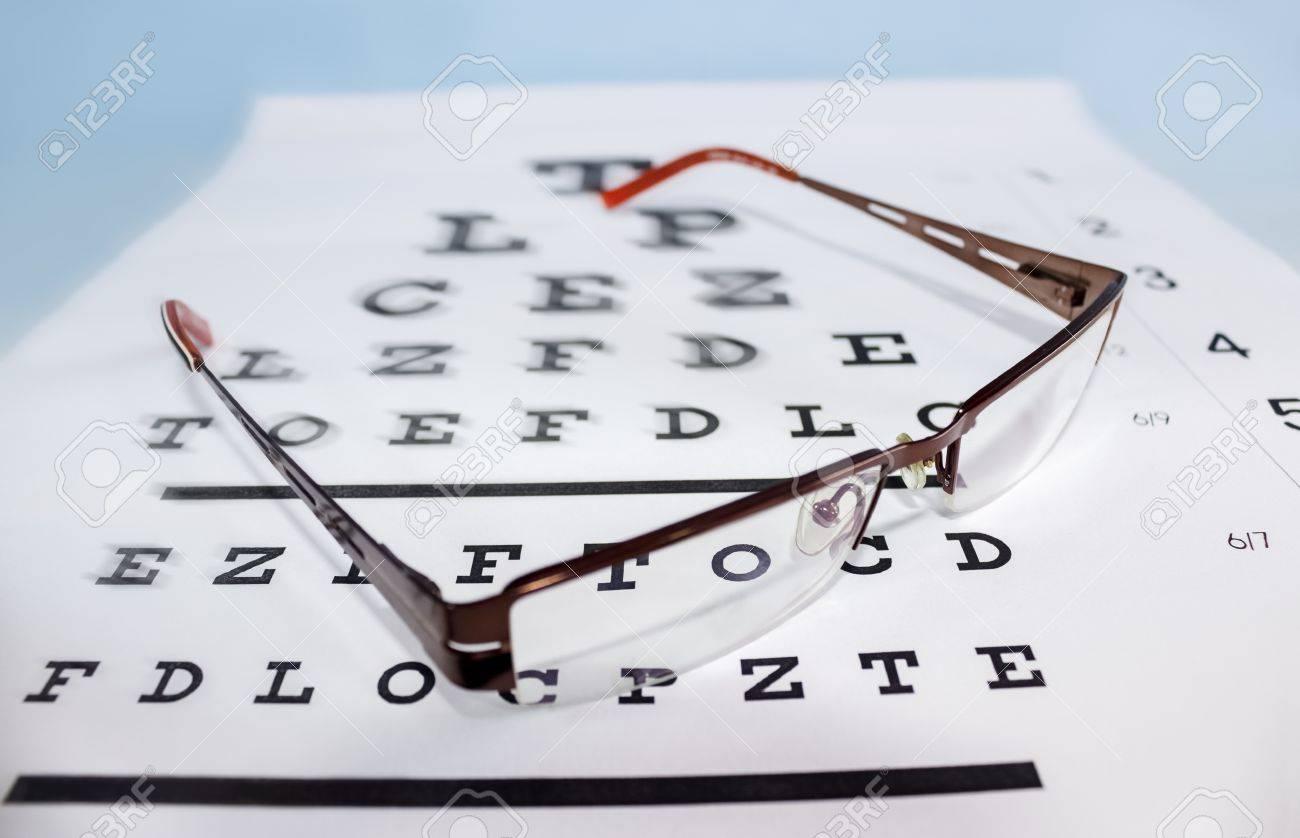 Eyeglasses on the ophthalmologic scale Standard-Bild - 16777383