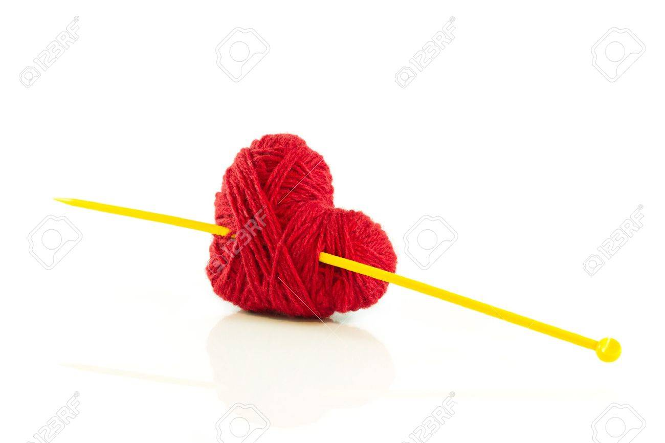 Heart of knitting with needle - 17627550