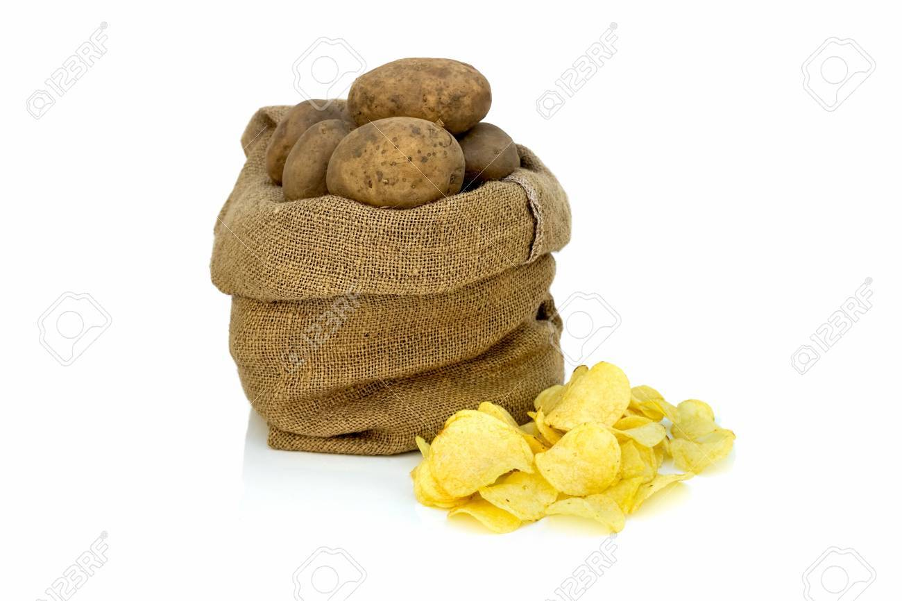 Pile of potato chips with raw potatoes in a sack Stock Photo - 18956923