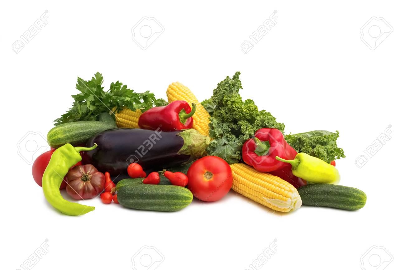 isolated colorful vegetables arrangement Stock Photo - 23078349