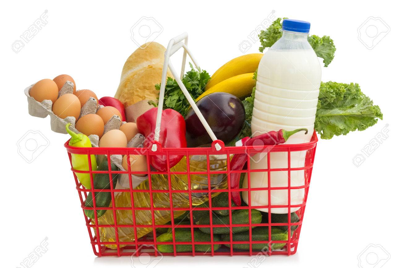 Shopping basket with groceries	, isolated over white background Standard-Bild - 23078352