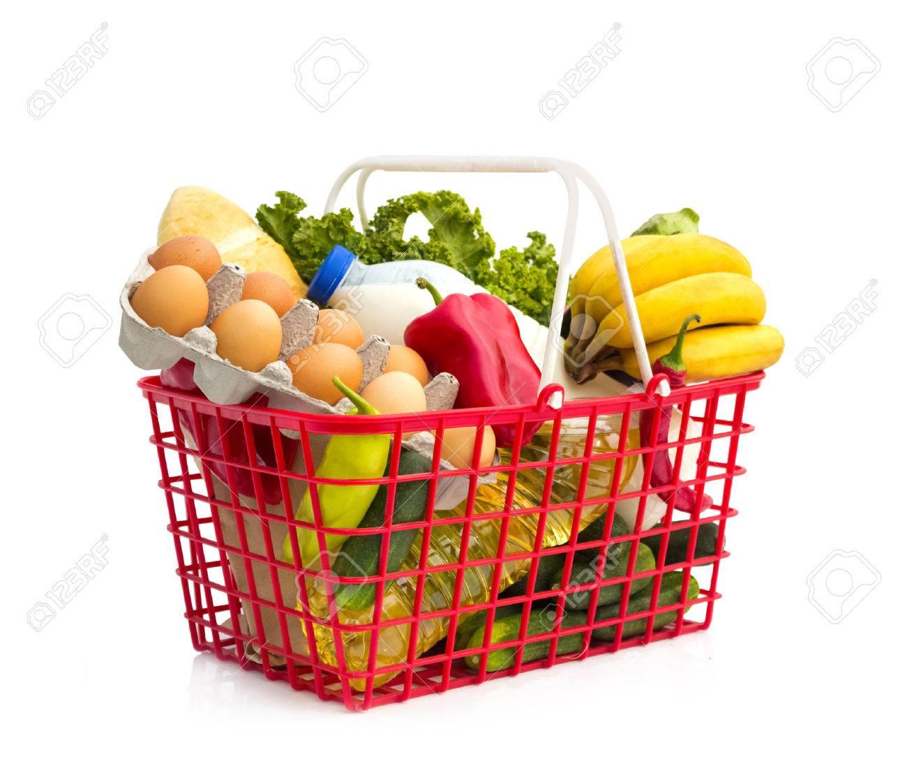Full shopping basket, isolated over white background Standard-Bild - 23796779
